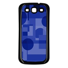 Deep Blue Abstract Design Samsung Galaxy S3 Back Case (black) by Valentinaart