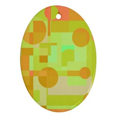Green And Orange Decorative Design Ornament (oval)  by Valentinaart