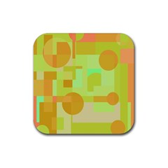 Green and orange decorative design Rubber Square Coaster (4 pack)  by Valentinaart