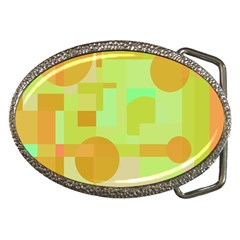 Green And Orange Decorative Design Belt Buckles by Valentinaart
