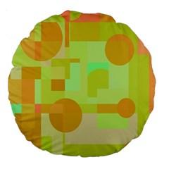 Green and orange decorative design Large 18  Premium Round Cushions