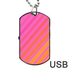 Pink Elegant Lines Dog Tag Usb Flash (one Side) by Valentinaart
