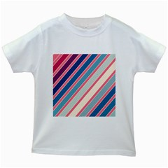 Colorful Lines Kids White T Shirts by Valentinaart