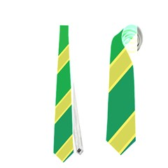 Green And Yellow Lines Neckties (two Side)  by Valentinaart