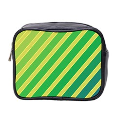 Green And Yellow Lines Mini Toiletries Bag 2 Side by Valentinaart
