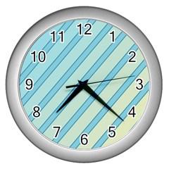 Blue Elegant Lines Wall Clocks (silver)  by Valentinaart