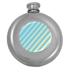 Blue Elegant Lines Round Hip Flask (5 Oz) by Valentinaart