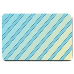 Blue Elegant Lines Large Doormat  by Valentinaart