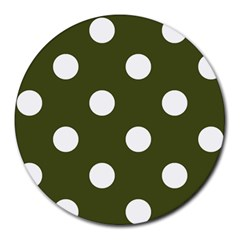 Polka Dots - White on Army Green Round Mousepad by mirbella