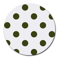 Polka Dots - Army Green on White Round Mousepad by mirbella