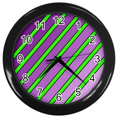 Purple and green lines Wall Clocks (Black) by Valentinaart