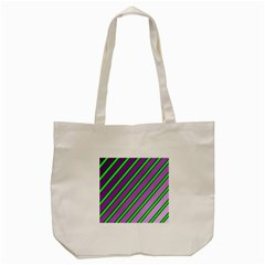 Purple And Green Lines Tote Bag (cream) by Valentinaart