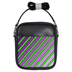 Purple And Green Lines Girls Sling Bags by Valentinaart