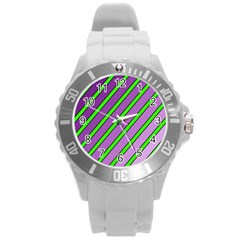 Purple And Green Lines Round Plastic Sport Watch (l) by Valentinaart