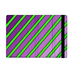 Purple And Green Lines Apple Ipad Mini Flip Case by Valentinaart