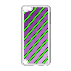 Purple and green lines Apple iPod Touch 5 Case (White) by Valentinaart