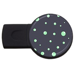 Green Bubbles Usb Flash Drive Round (4 Gb)  by Valentinaart