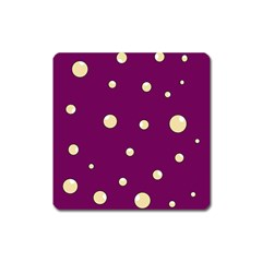 Purple And Yellow Bubbles Square Magnet by Valentinaart
