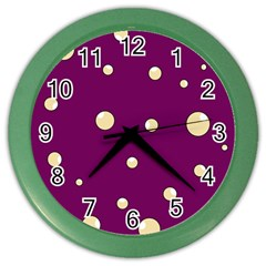 Purple And Yellow Bubbles Color Wall Clocks by Valentinaart
