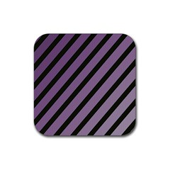 Purple Elegant Lines Rubber Coaster (square)  by Valentinaart
