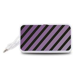 Purple elegant lines Portable Speaker (White)  by Valentinaart