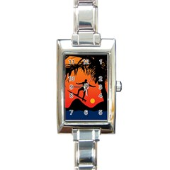 Man Surfing At Sunset Graphic Illustration Rectangle Italian Charm Watch by dflcprints
