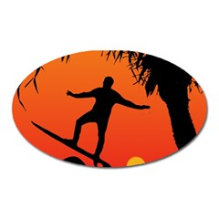 Man Surfing At Sunset Graphic Illustration Oval Magnet by dflcprints