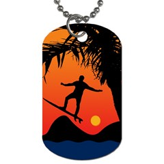 Man Surfing At Sunset Graphic Illustration Dog Tag (two Sides) by dflcprints