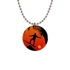 Man Surfing At Sunset Graphic Illustration Button Necklaces by dflcprints