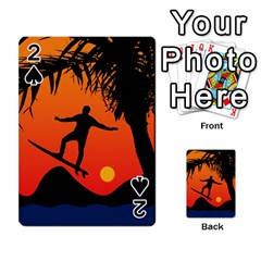 Man Surfing At Sunset Graphic Illustration Playing Cards 54 Designs  by dflcprints