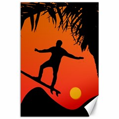 Man Surfing At Sunset Graphic Illustration Canvas 12  X 18   by dflcprints