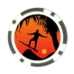 Man Surfing At Sunset Graphic Illustration Poker Chip Card Guards by dflcprints