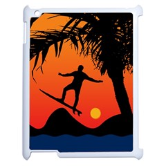 Man Surfing at Sunset Graphic Illustration Apple iPad 2 Case (White) by dflcprints