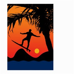 Man Surfing At Sunset Graphic Illustration Small Garden Flag (two Sides) by dflcprints