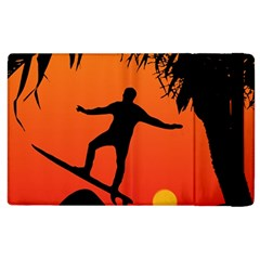 Man Surfing At Sunset Graphic Illustration Apple Ipad 3/4 Flip Case by dflcprints