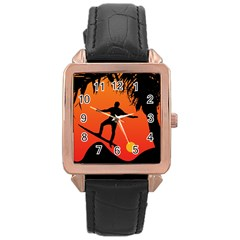 Man Surfing At Sunset Graphic Illustration Rose Gold Leather Watch  by dflcprints