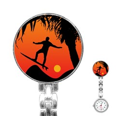Man Surfing At Sunset Graphic Illustration Stainless Steel Nurses Watch by dflcprints