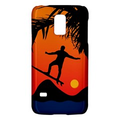 Man Surfing At Sunset Graphic Illustration Galaxy S5 Mini by dflcprints