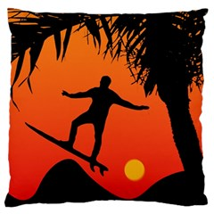 Man Surfing at Sunset Graphic Illustration Standard Flano Cushion Case (One Side) by dflcprints