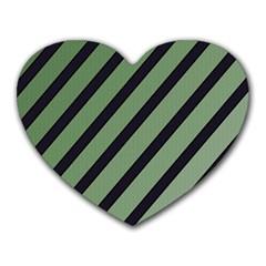 Green Elegant Lines Heart Mousepads by Valentinaart