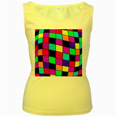 Colorful Cubes  Women s Yellow Tank Top by Valentinaart