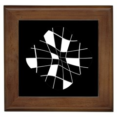 Black And White Abstract Flower Framed Tiles by Valentinaart