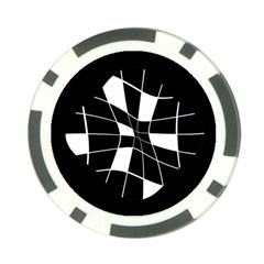 Black And White Abstract Flower Poker Chip Card Guards by Valentinaart