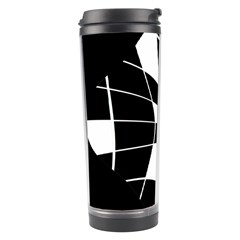 Black And White Abstract Flower Travel Tumbler by Valentinaart