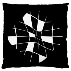 Black And White Abstract Flower Standard Flano Cushion Case (one Side) by Valentinaart