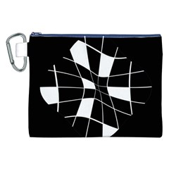 Black And White Abstract Flower Canvas Cosmetic Bag (xxl) by Valentinaart