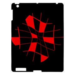 Red Abstract Flower Apple Ipad 3/4 Hardshell Case by Valentinaart