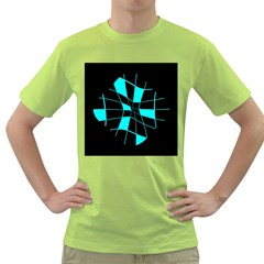 Blue Abstract Flower Green T Shirt by Valentinaart