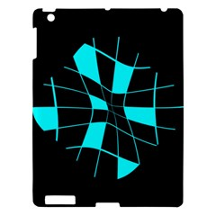 Blue Abstract Flower Apple Ipad 3/4 Hardshell Case by Valentinaart