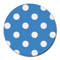 Polka Dots - White on Steel Blue Round Mousepad by mirbella